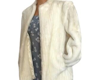 Vintage 90s Pleated White Faux Fur Coat by Jorache