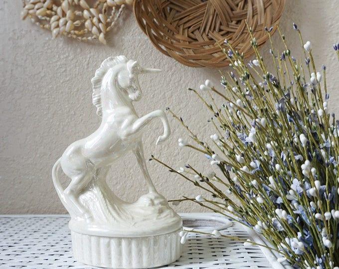 Vintage White Opalescent Porcelain Unicorn