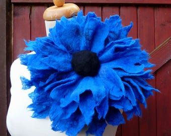 felted flower corsage pin brooch, handmade, felted wool flower, lagenlook, handmade, shawl pin, red, orange,blue large, MADE TO ORDER