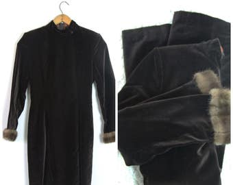 1960s Velvet Dress with Fur Cuffs