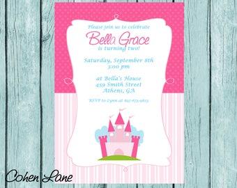 Printable Princess Birthday Party Invitation.  Princess Castle Party Invite.  Princess party Invite.  Fairytale Party Invite.