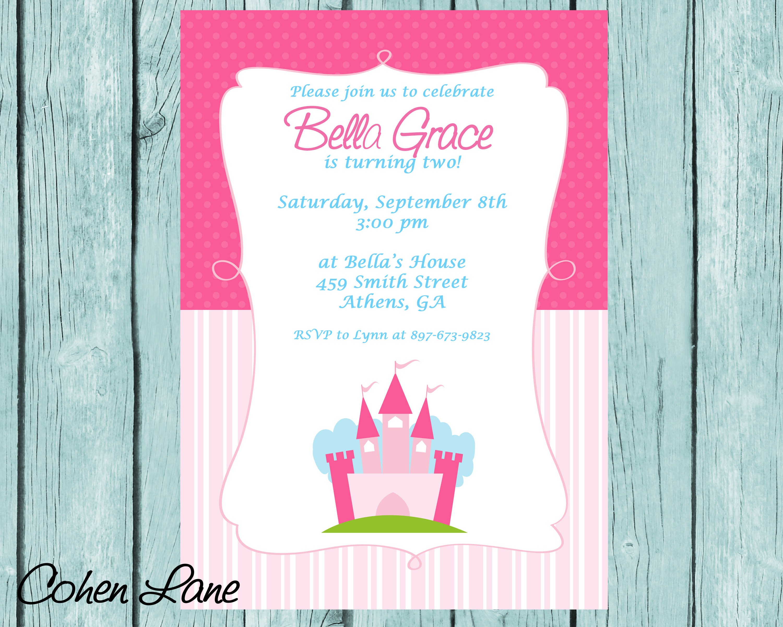 Printable Princess Birthday Party Invitation. Princess Castle