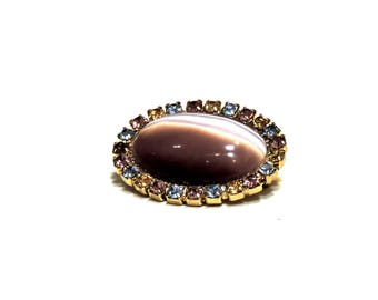 Oval Rhinestone Purple Amethyst Brooch Lapel Pin, Vintage Costume Jewelry, Spring Summer Fashion Accessory itsyourcountry