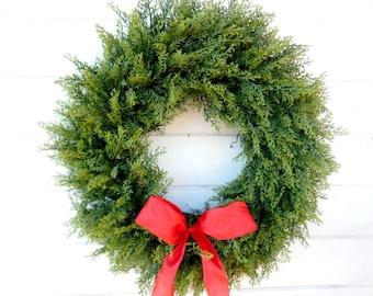 Winter Wreath-Christmas Wreath-Cedar Wreath-Large CEDAR Door Wreath- Christmas Home Decor-Holiday Home Decor-Housewarming-Outdoor Wreath