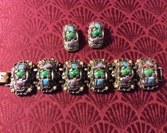 Pewter Color Bracelet and Clip Earrings Purple, Green and Blue Stones