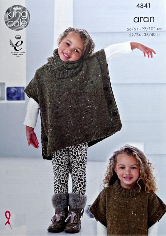 Womens Knitting Pattern K4841 Ladies/Girls Cable Tabbard/Poncho Knitting Patt...