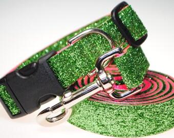 "Lime Glitter on Hot Pink 1"" Width Adjustable Collar & Leash"