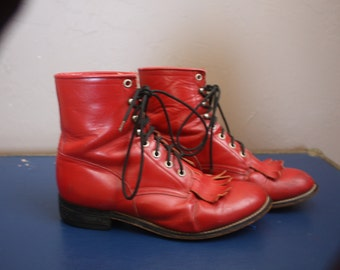 Vintage 1980s / 1990s Cherry Red Leather Justin Roper Boots Size 6D Country Western Cowboy Lace Up Hipster Grunge Fire Engine Fringe Shoes