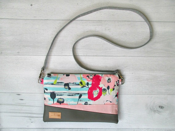 "Floral Clutch with Wrist Strap. ""Juliet"" Cross Body Bag in Pink and Aqua Flowers. Vegan Leather Purse."