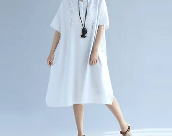 White/ red loose comfortable cotton short sleeved dress summer Women dress