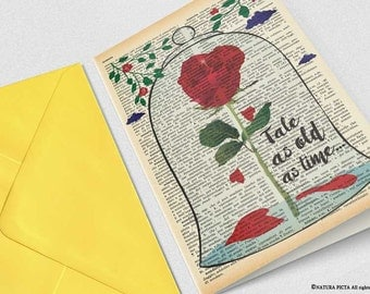 Beauty and the Beast enchanted rose Card-4x6 card-wedding card-love card-tale as old as time card-Valentines Day Cards-NATURA PICTA-NPGC111