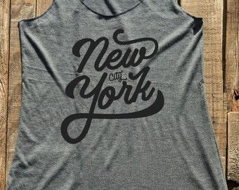 New York City - Fitness workout gym tank top - workout tank top - choose colors - Soft Tri-Blend Racerback Tank