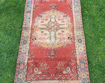 """DISCOUNTED ! Muted Colors Distressed Turkish Rug,Vintage Fashion Handwoven Shabby Chic Rug,Room Office Decor Low Pile Oushak Rug 3'1''x5'10"""""""