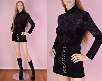 90s Black and Silver Velvet Top/ Small/ 1990s