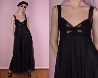 60s 70s Black Maxi Nightgown Dress/ Small/ 1960s/ 1970s/ Vintage/ Lingerie