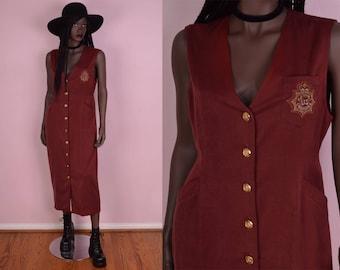 90s Button Down Dress/ Medium/ 1990s/ Tank/ Sleeveless