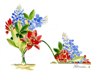 Blue Bonnet and Indian Paint Flower Shoe 2005 rev. 2017 Print - Signed & Enhanced with Paint. Free Shipping
