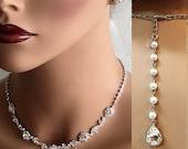 Wedding jewelry, crystal choker, bridal jewelry set, Bridal necklace earrings, bridal bracelet, bridesmaid jewelry, pearl backdrop necklace