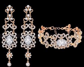 Bridal earrings, Bridal bracelet, Bridal jewelry set, Wedding jewelry set, zircon crystal earrings, Gold Palted Vintage inspired earrings