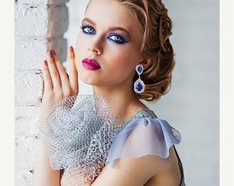 Bridesmaid earrings, Bridal earrings, Wedding jewelry, Teardrop earrings, Royal blue crystal earrings, Sapphire earrings, Victorian earrings
