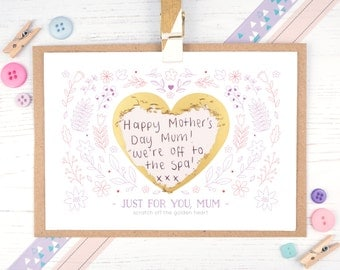 Personalised Mother's Day Card - Mother's Day scratchcard - Gift card - Just for you Mum - Scratch off card - Secret message card