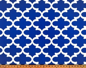 Cobalt Blue White Trellis Fynn Curtains  Rod Pocket  63 72 84 90 96 108 or 120 Long x 24 or 50 Wide