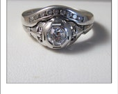 Antique 18k .60 cttw Diamond Wedding Set - Engagement Ring with Curved wedding band