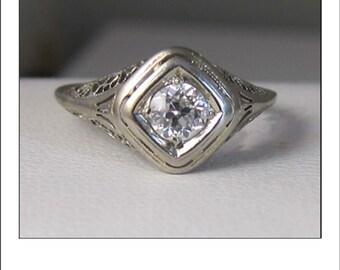 Antique Art Deco 14k  .41 ct. Old European Cut Diamond Filigree Engagement Ring Appraisal at 1460