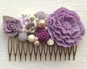 Hair Comb/Floral Hair Piece/Floral Comb/Bridal Hair Comb/Bridesmaid Gift/Wedding Hair Comb/Lavender Hair Comb/Lilac Hair Comb/Garden Wedding
