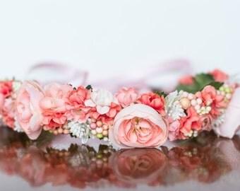Spring Flower Crown - Coral Flower Halo - Flowergirl hairpiece - Summer Wedding - Newborn Photo Prop - Wedding Crown - Floral Hairpiece