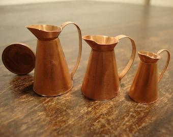 Miniature copper jug  set 3 pieces