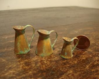 Miniature copper jug oxidated set 3 pieces