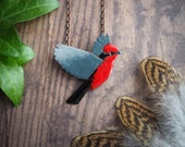 vermilion flycatcher pendant, nature inspired red bird necklace, modern necklace for nature lover, enameled copper pendant, gift for her