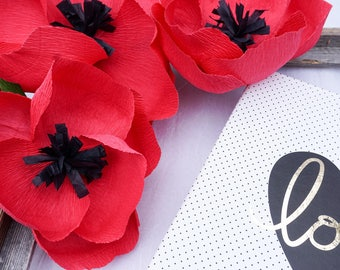 Set of 2 Crepe Paper Poppies
