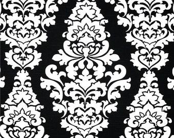 "One 78""L x 72""W Custom Shower Curtain  Cotton - Large Damask - Black White"