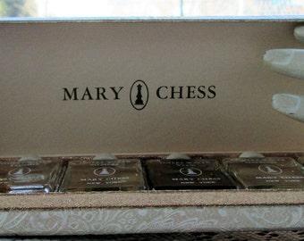 Mary Chess Toilet Water six small bottles Tapestry Tweed Gardenia Yram plus made in New York USA
