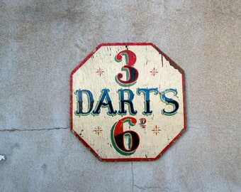 Antique Circus Arcade Carnival Wooden Darts Game Advertising Sign - Double Sided
