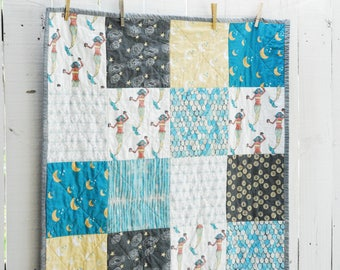 Organic Patchwork Crib Quilt - Organic Cottons and Hand Dyed Organic Gray - Mermaid and Friends Quilt - MADE TO ORDER