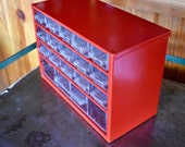 Vintage Red metal storage bin