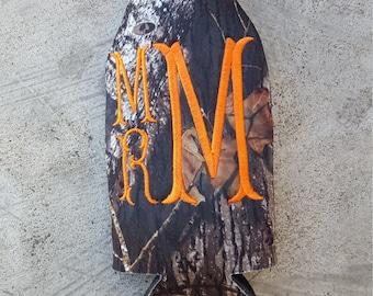 Monogrammed camo bottle insulator, zippered back fits 12 oz bottle, Orange and Camouflage customized beverage cozy