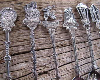 Annual Christmas collector spoons (set of 11) / 1980 to 1990 Christmas themed spoons / Silverplated spoons