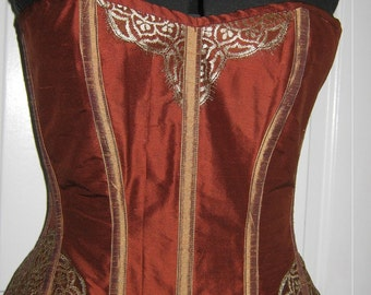 """SALE brown silk overbust corset REDUCED 31"""" wasit"""
