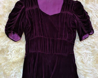 1930s Maroon Plum Silk Velvet Dress Ruched Puff Sleeves
