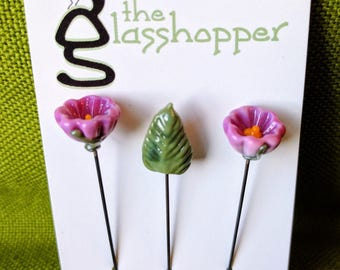 Lampwork Glass Flower Counting Pins/Stitch Markers/Fairy Garden Flowers - Magenta