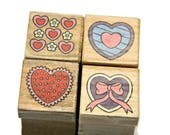 Heart Stamps - Heart Rubber Stamps - Heart Stamp Set - Paper and Ink Stamps - Polymer Clay - Small Rubber Stamps - Decorative Stamps