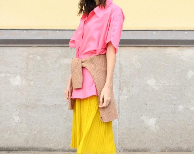 vintage bubble gum pink cotton button up blouse