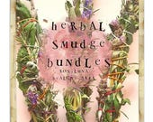 Herbal Smudge sacred smoke Bundles with organic white sage, rosemary, lavender, mugwort, artemisia, shiva, black sage