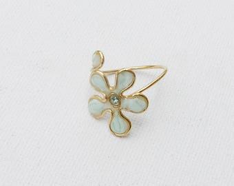 Light blue ring, Light blue, Ring flower, Gift for her, Trendy ring. Cheap ring. Flower ring.