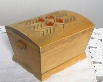 Wooden Jewelry Box Vintage Jewelry Box Wood Box Vintage Jewelry Tin Memory Box Earrings Box Light Brown Box