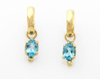Blue Topaz Earring Jackets in 14K Yellow Gold on Hoops Blue Topaz Earrings Fine Handmade Jewelry Removeable Earring Jackets on Hoops
